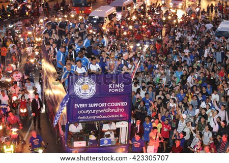 BANGKOK, THAILAND - MAY 19, 2016:  Unidentified Thail People Celebrate For Leicester City Premier League Champion Parade on open-top buses on May 19,2016.  - stock photo
