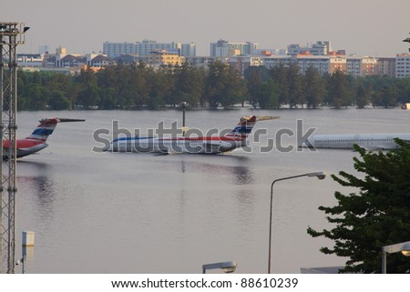 BANGKOK THAILAND - NOV 8: north of Bangkok areas full of flood water higher levels than expected,Donmuang Airport affected by flood on Nov 8 , 2011 - stock photo