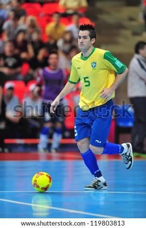 BANGKOK, THAILAND - NOV 14: Rafael player of Brazil in FIFA Futsal World Cup between Argentina (B) and Brazil (Y) at Indoor Stadium Huamark on November 14, 2012 in Bangkok, Thailand. - stock photo