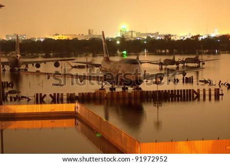 BANGKOK THAILAND - NOV 25 : scenes from Don Muang Airport Bangkok during its worst flooding in decades is a major disaster Nov 25,2011 in Bangkok Thailand. - stock photo