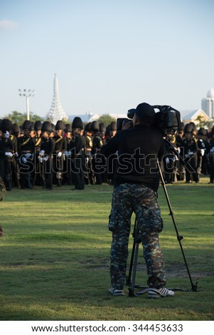Bangkok Thailand-Nov 27 The Royal Guards of the Royal Thai Armed Forces to practice parade to show their loyalty for King Bhumibol Adulyadej. - stock photo