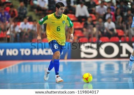 BANGKOK, THAILAND - NOV 14: Unidentified player in FIFA Futsal World Cup Quarter-Final match between Argentina (B) and Brazil (Y) at Indoor Stadium Huamark on November 14, 2012 in Bangkok, Thailand. - stock photo