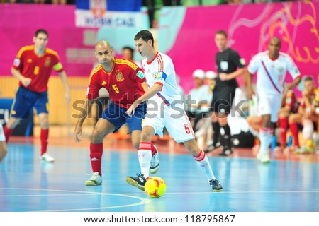 BANGKOK, THAILAND - NOV 14 : Unidentified players in FIFA Futsal World Cup, Quarter-Final match between Spain (R) and Russia (W) at Nimibutr Stadium on November 14, 2012 in Bangkok, Thailand. - stock photo
