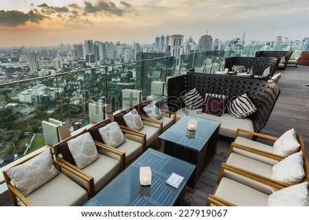 BANGKOK, THAILAND - NOV 29, 2013: View from the top of Octave Bar in Bangkok, Thailand. The Octave bar is located in the Thong Lor district near sukhumvit road. - stock photo