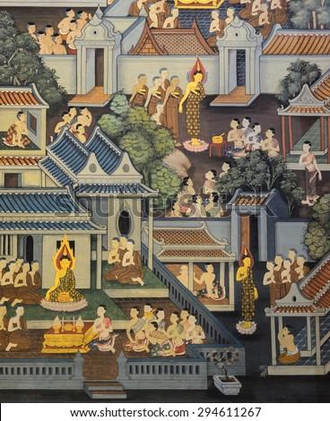 BANGKOK ,THAILAND - NOVEMBER 5, 2014 : Ancient Buddhist temple mural painting of the life of Buddha inside of Wat Pho in Bangkok, Thailand - stock photo