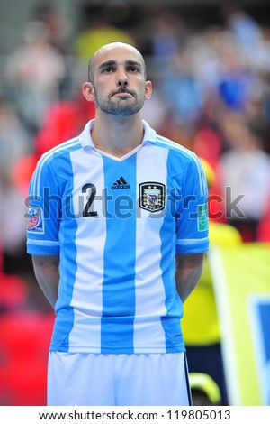 BANGKOK, THAILAND - NOVEMBER 12: Damian Stazzone in FIFA Futsal World Cup Round of 16 match between Serbia and Argentina at Indoor Stadium Huamark on November 12, 2012 in Bangkok, Thailand. - stock photo