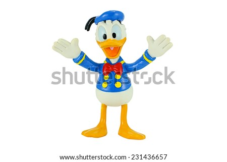Bangkok, Thailand - November 4, 2014: Donald Duck from Mickey mouse and friends cartoon animation. This plastic toy figure from Disnay animation store. - stock photo