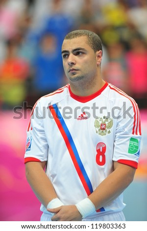 BANGKOK, THAILAND - NOVEMBER 14: Eder Lima of Russia in the FIFA Futsal World Cup between Spain and Russia at Nimibutr Stadium on November 14, 2012 in Bangkok, Thailand. - stock photo