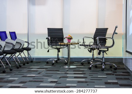 BANGKOK THAILAND-NOVEMBER 29: Empty business conference room interior in office on November 29,2014 in Bangkok Hotel,Thailand. - stock photo