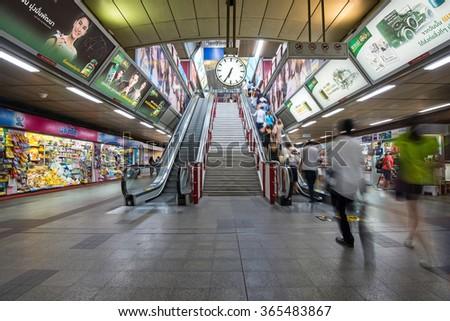 BANGKOK, THAILAND - NOVEMBER 19, 2015: Entrance of Bangkok Mass Transit System (BTS) public train in Thailand. Over 600,000 passengers ride the Skytrain daily. - stock photo