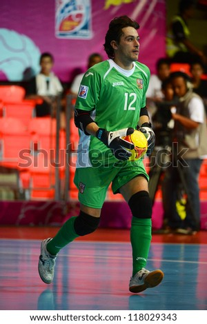 BANGKOK,THAILAND-NOVEMBER3:Goalkeeper Libor Gercak of Czech Republic in action during the FIFA Futsal World Cup between Czech Republic and Kuwait at Indoor Stadium Huamark on Nov3, 2012 in Thailand. - stock photo