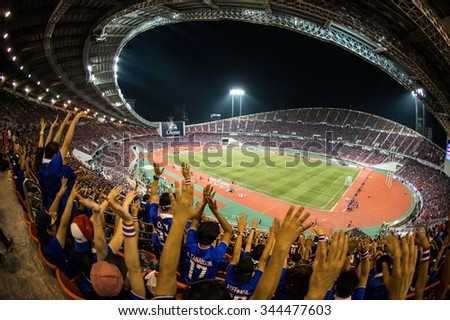 BANGKOK,THAILAND NOVEMBER 12:Panoramic view fan of Thailand supporters during the 2018 FIFA World Cup Qualifier between Thailand and Chinese Taipei  at Rajamangala Stadium on Nov 12, 2015 in Thailand. - stock photo