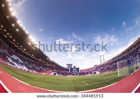 BANGKOK,THAILAND NOVEMBER 12:Panoramic view of Rajamangala Stadium during the 2018 FIFA World Cup Qualifier between Thailand and Chinese Taipei  at Rajamangala Stadium on Nov 12, 2015 in Thailand. - stock photo