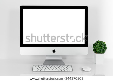BANGKOK, THAILAND - November 22, 2015: Photo of new iMac 21.5 With OS X El Capitan. iMac - monoblock series of personal computers, created by Apple Inc. - stock photo