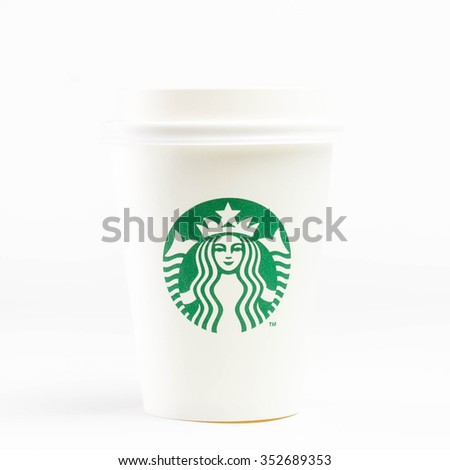 bangkok, thailand - Oct 10, 2015: Cup of Starbucks coffee with new logo isolated on white background - stock photo