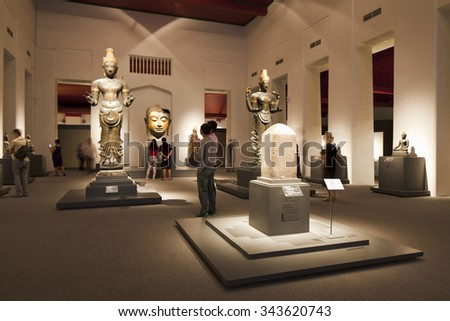 Bangkok, Thailand - Oct 20 : People enjoying newly open permanent exhibition of South-East Asian sculpture art at the National Museum in Bangkok,Thailand on October 20,2015. - stock photo