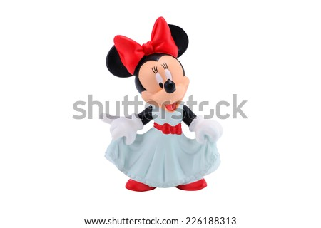 Bangkok,Thailand - October 19, 2014:  Minnie mouse figure toy from Disney character. This character from Mickey and Minnie Mouse  animation. - stock photo