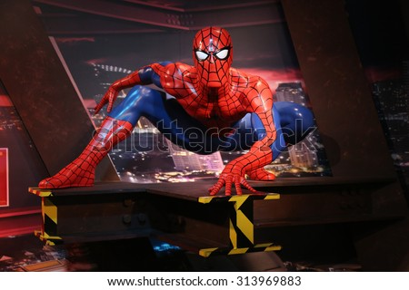 BANGKOK THAILAND - 2014 OCTOBER 26, 2015:Spiderman waxwork figure 2 -Madame Tussauds Siam - stock photo