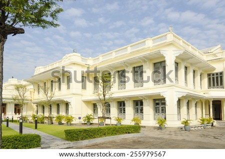 Bangkok, Thailand - Royal Palace and Wat Phra Kaeo Complex -  the main office (tourist service center) - stock photo