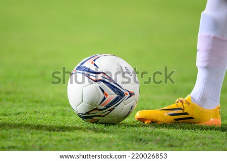 BANGKOK THAILAND-Sep20:foot in close up of soccer cleats during in the Charity Shield for Paralympicthai Between Muangtohong Vs BG FC.at SCG Stadium on September20,2014 in Thailand - stock photo