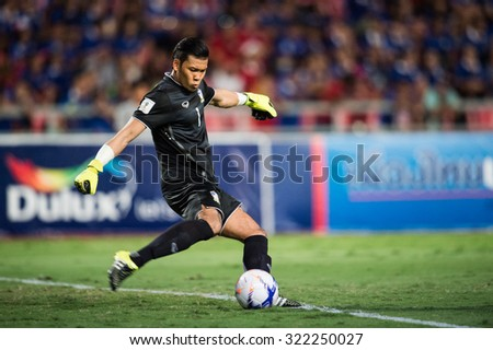 BANGKOK,THAILAND SEPTEMBER 08:Goalkeeper Kawin Thamsatchanan of Thailand  in action during the 2018 FIFA World Cup Qualifier between Thailand and Iraq at Rajamangala Stadium on Sep 8,2015 in Thailand. - stock photo