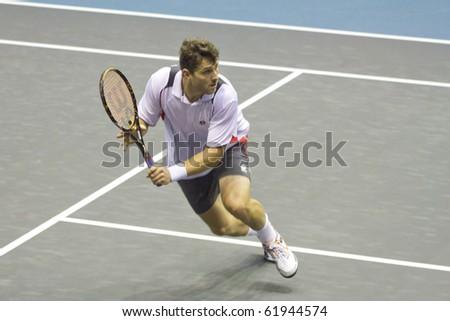 BANGKOK THAILAND- SEPTEMBER 28 : Michael Berrer action in PTT Thailand Open 2010 ( ATP ) on September 28, 2010 at Impact Arena Muang Thong Thani Bangkok Thailand - stock photo