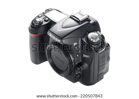 BANGKOK, THAILAND - SEPTEMBER 30, 2014: Nikon D90 camera body, The D90 was the first DSLR with video recording capabilities. - stock photo