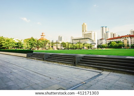 BANGKOK THAILAND - SEPTEMBER 26 : Srinakharinwirot University in Bangkok at evening time, on  September 26, 2015 in Bangkok, Thailand. - stock photo
