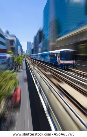 Bangkok-Thailand. Thai capital's central business district.Bangkok Sky train BTS - stock photo