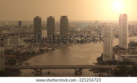 Bangkok Transportation  with the bridge across the river (Thailand) - stock photo