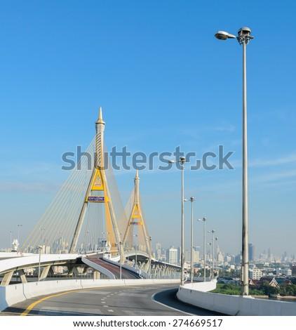 Bangkok transportation with the bridge across the river, Thailand - stock photo