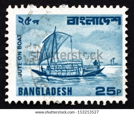 BANGLADESH - CIRCA 1982: a stamp printed in the Bangladesh shows Jute on Boat, River Transport, circa 1982 - stock photo