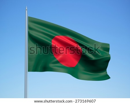 Bangladesh 3d flag floating in the wind with a blue sky background - stock photo