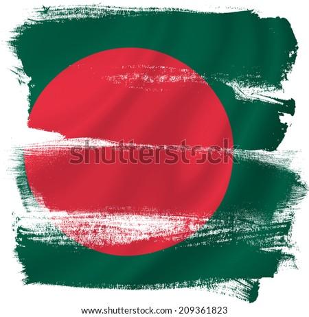 Bangladesh flag backdrop background texture. - stock photo