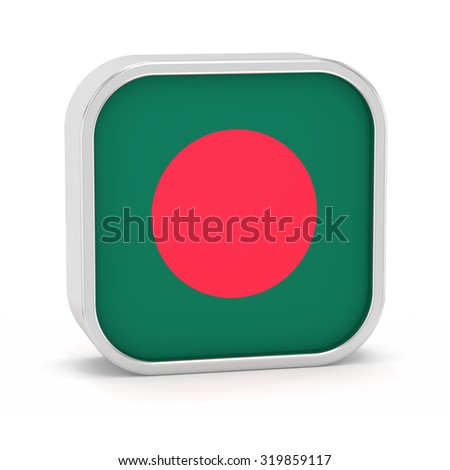 Bangladesh flag sign on a white background. Part of a series. - stock photo