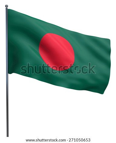 Bangladesh flag waving image isolated on white. Clipping path included. - stock photo