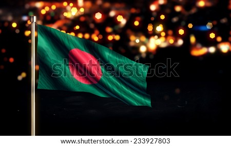 Bangladesh National Flag City Light Night Bokeh Background 3D - stock photo
