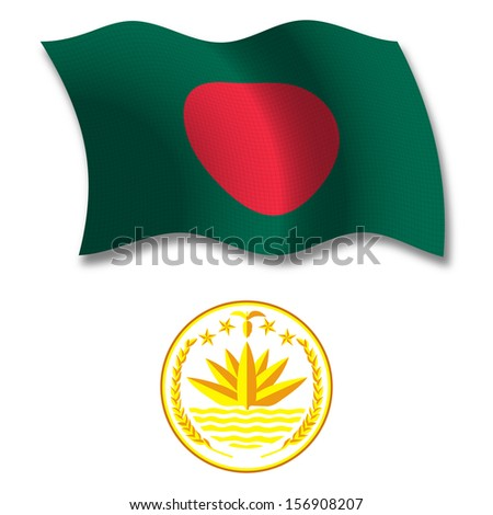 bangladesh shadowed textured wavy flag and coat of arms against white background, art illustration - stock photo