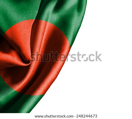 Bangladesh waving silky flag isolated on white background - stock photo