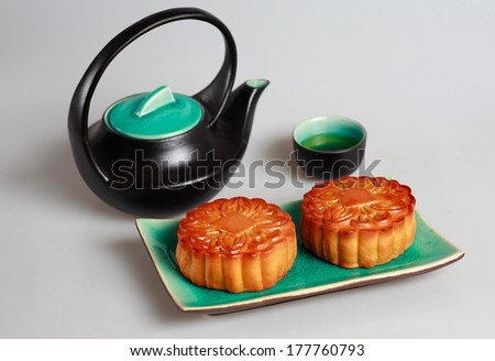 BANH TRUNG THU ( Vietnamese language) Mooncake and tea,Chinese mid autumn festival food - stock photo