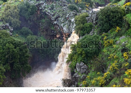 Banias waterfall in the spring at the Golan Heights (Israel). - stock photo