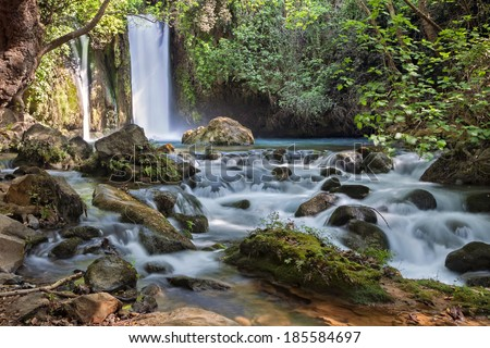 Banias waterfall stream. River Hermon, Nature Reserve in the north of Israel  - stock photo