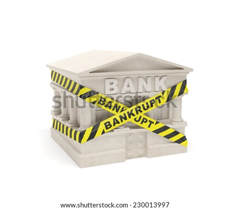 Bank bankrupt (creative concept): banking building is fenced in warning line as symbol of bankruptcy, collapse of banking industry, global financial crisis, poor management of financial flows - stock photo