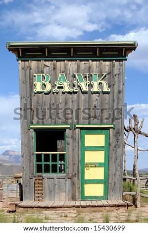 Bank building in the Wild West - stock photo