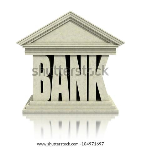 bank 3d icon - stock photo