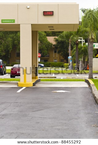 bank drive through, always closed at convenient times - stock photo