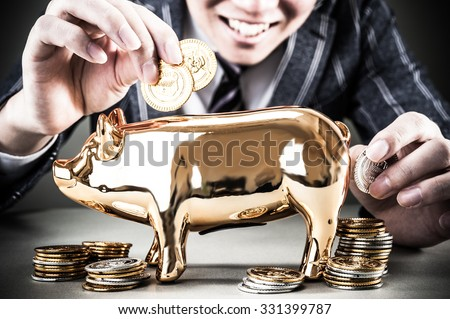 bank gold pig - stock photo