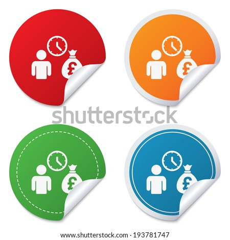 Bank loans sign icon. Get money fast symbol. Borrow money. Round stickers. Circle labels with shadows. Curved corner. - stock photo