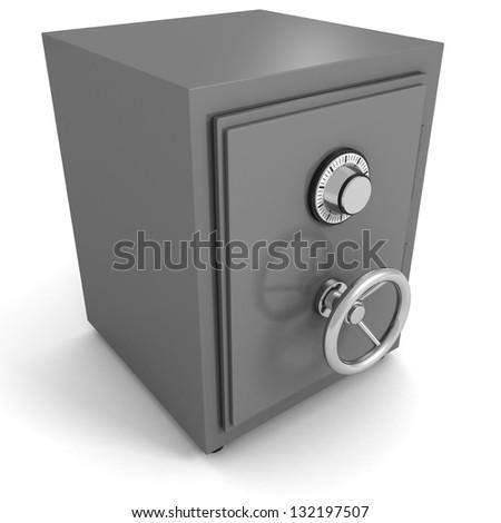 Bank money metallic safe on white - stock photo