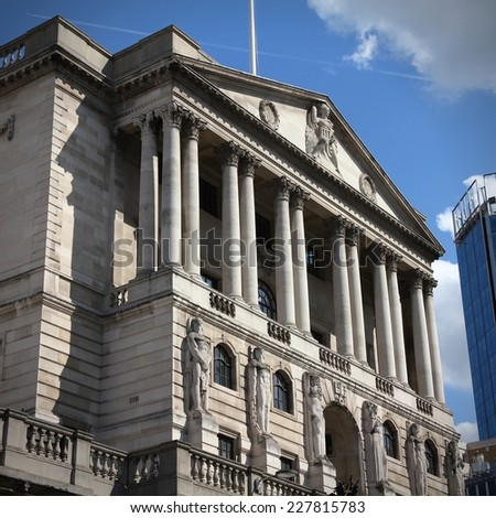 Bank of England building in London, United Kingdom. Square composition. - stock photo